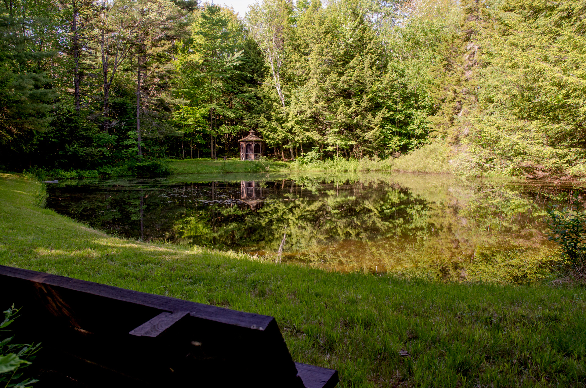 The 3/4 acre Pond with a Gazebo on the far shore.